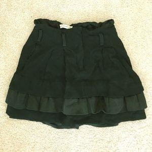 BALENCIAGA mini skirt black XS silk tiered